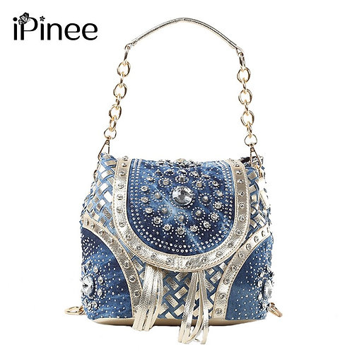iPinee Gold/Sliver Fashion Ladies Handbag Designer Weave Style