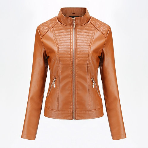 2019 Spring Autumn Black Leather Jacket Women Biker Jacket