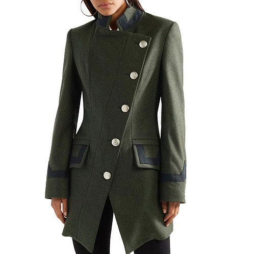 2020 Autumn and Winter Casual Army Green Wool Jacket Women