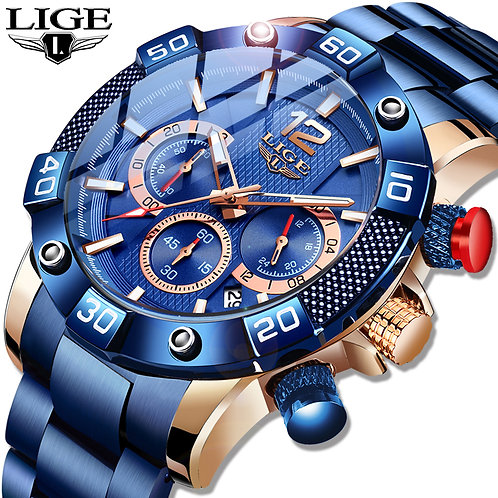 LIGE 2020 New Fashion Blue Mens Watches Top Brand Luxury