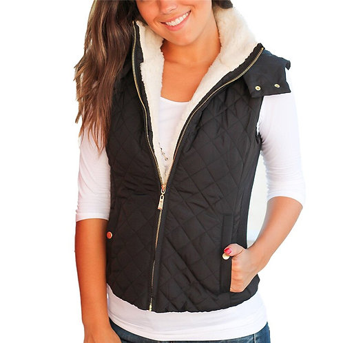 Women Vest Casual Plush Teddy Hoodies Outerwear Sleeveless