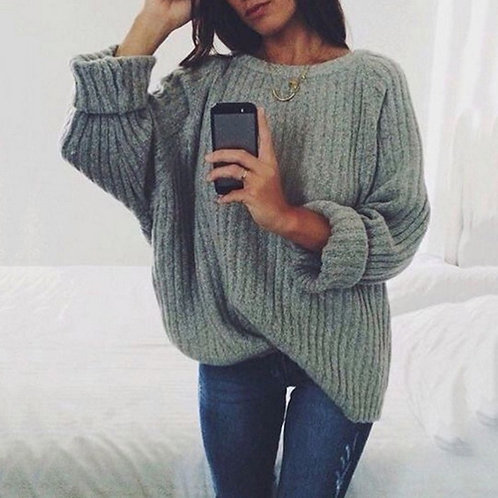 Women Solid O Neck Knitted Sweater 2020 Autumn Winter Fashion