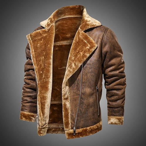 2020 Winter Jacket Mens Suede Leather Jacket Lapel Collar