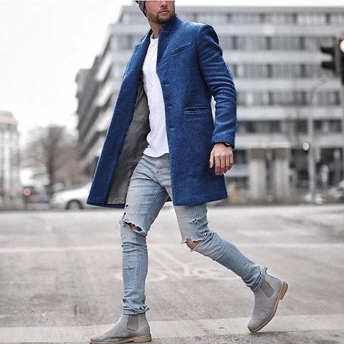 ZOGAA Men's Overcoats Vintage Casual Lapel Coat Solid Long Sleeve