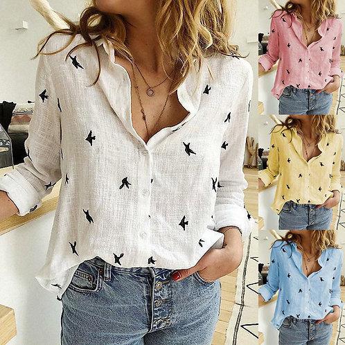 Women's Birds Print Shirts 35% Cotton Long Sleeve Female Tops