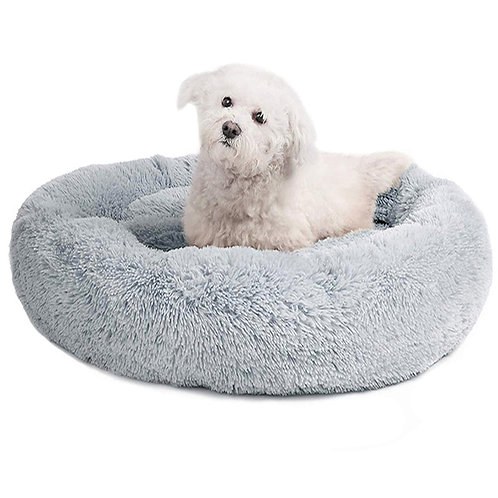 Round Dog Bed Long Plush Pet Beds for Little Medium Large Pets