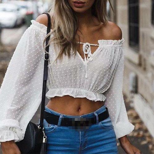 Sexy Crop Top Transparent White Shirt Women Slash Neck Lantern