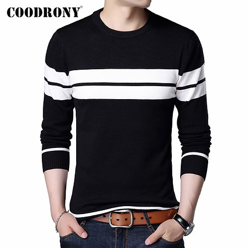 COODRONY Brand Sweater Men Casual Striped O-Neck Pull Homme