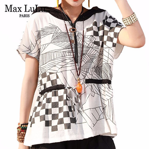 Max LuLu 2020 Summer Korean Fashion Style Ladies Plaid Tee Shirts Womens