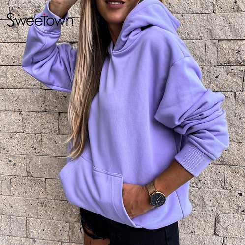 Sweetown Solid Casual Hoodies for Women Autumn Fashion Long Sleeve
