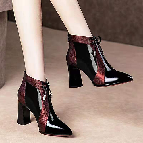 High Heeled Ankle Boots Woman Fall/Winter Warm Shoes Women's