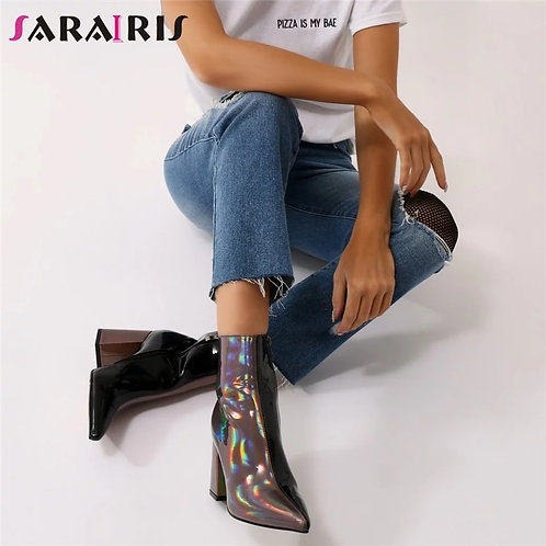SARAIRIS 35-43 Leopard Patent Pu Leather Booties Ladies Pointed