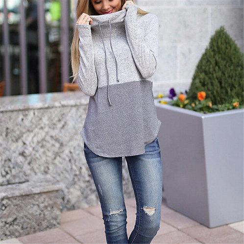 Women's Autumn Winter Hoodie Sweatshirt Long Sleeve Color Patchwork
