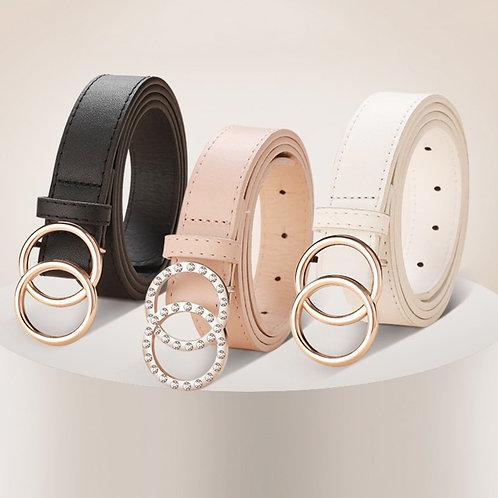Black Leather Belt Woman Waist Rhinestone Belts for Women Luxury