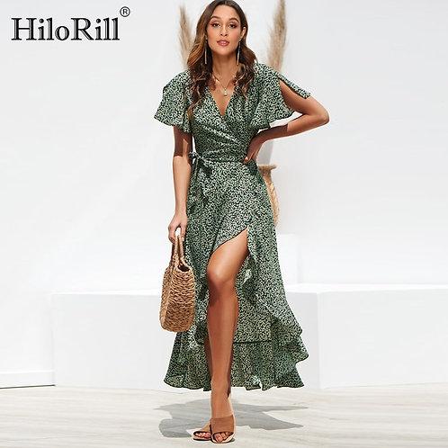 HiloRill Summer Beach Maxi Dress Women Floral Print Boho Long