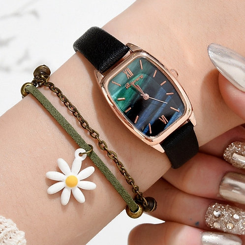 Leather Strap Wrist Watches for Women Fashion Small Green Dial