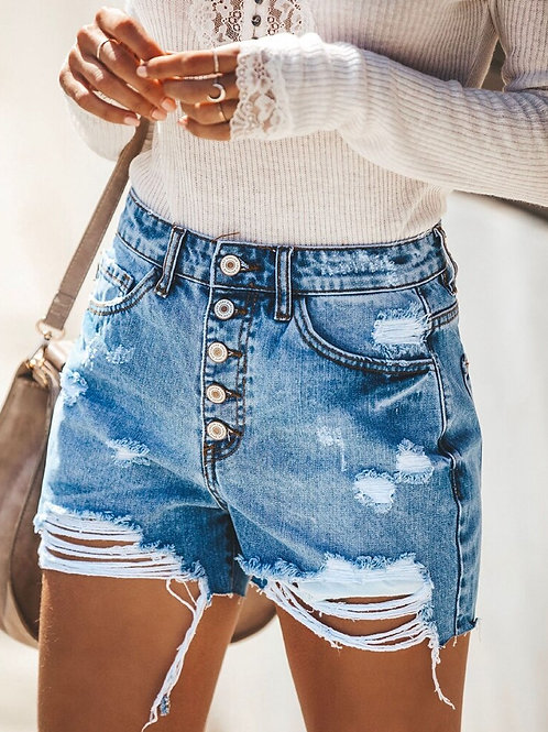 2020 New Fashion Women Summer Ripped Hole Denim Shorts Jeans