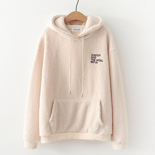 Fashion Letters Casual Hoodies Fleece Flannel Pullover Thick