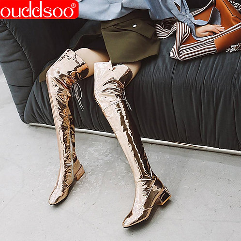 ODS Thigh High Boots Sexy Silver Mirror Over Knee Boots Womens