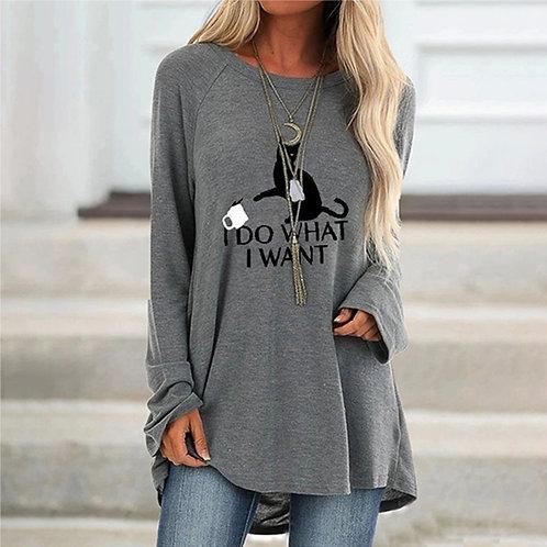 Women's Autumn Fashion T-Shirt Mid-Length Round Neck Printed