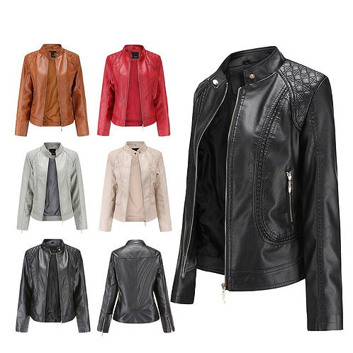 New 2020 Spring and Autumn OL Stand Collar Leather Jacket Women