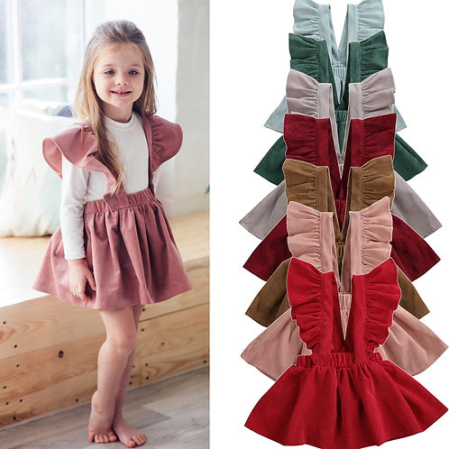 1-6y Kids Girls  Fly Sleeve Strap Skirts Corduroy Tutu Skirt Clothes