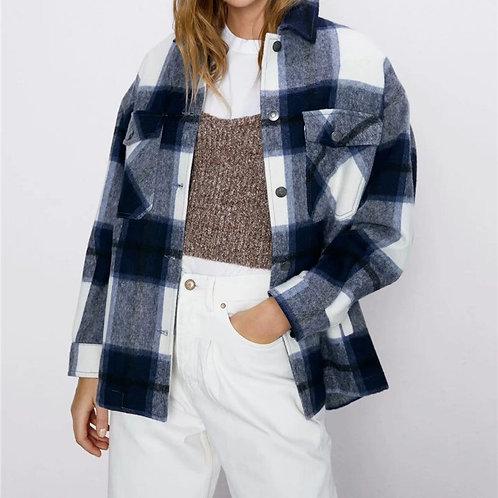 2020 Women Fashion Plaid Za Long Jacket Female Spring Cotton