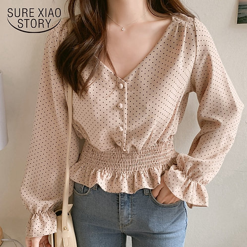 Vintage V-Neck Flare Sleeve Polka Dot Women Blouse Shirts Elegant
