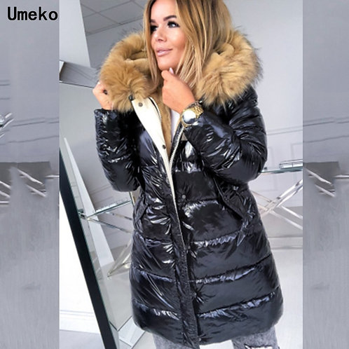 Umeko Fashion Parka Women Winter Coats Long Cotton Casual Fur Hooded Jackets