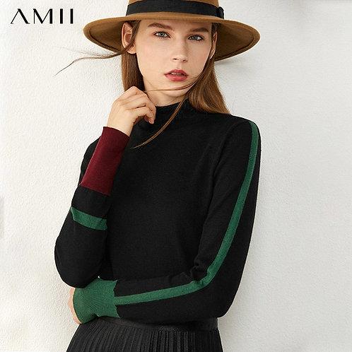 AMII Minimalism Autumn Women's Sweater Fashion Contrasting