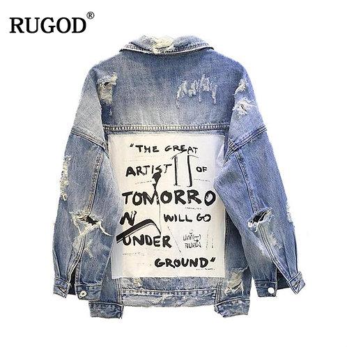 RUGOD Basic Coat Bombers Vintage Fabric Patchwork Denim