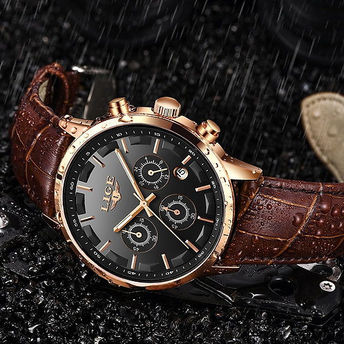 2020 New Mens Watches LIGE Top Brand Leather Chronograph