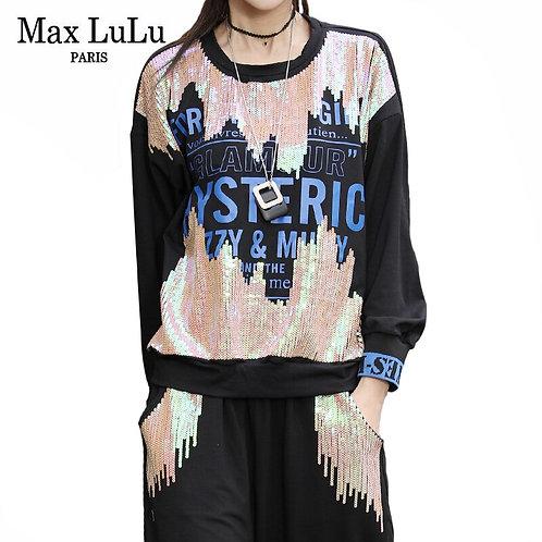 Max LuLu Korean Style Autumn Ladies Tops and Sweatpants Womens