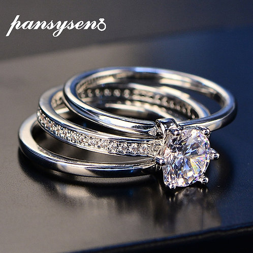 2020 Luxury Female White Bridal Wedding Ring Set Real Sterling