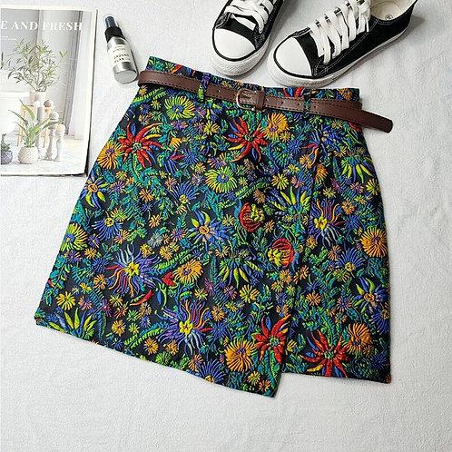 Vintage Floral Irregular Skirt 2020 Spring Autumn Women