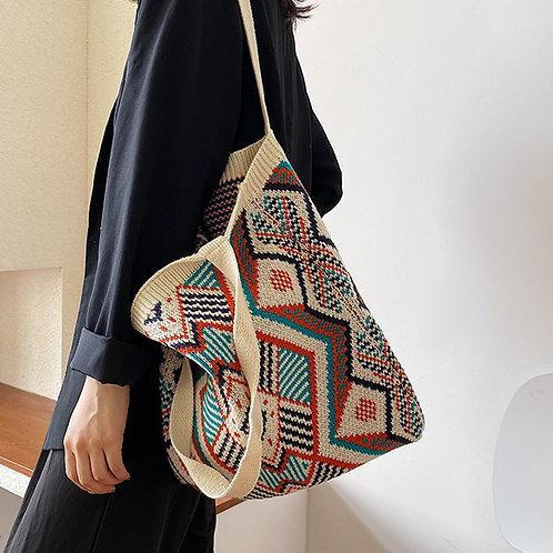 Lady Knitting Gypsy Bohemian Boho Chic Aztec