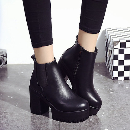Chelsea Boots 2019 Female Leather Women Boots Thick Heels