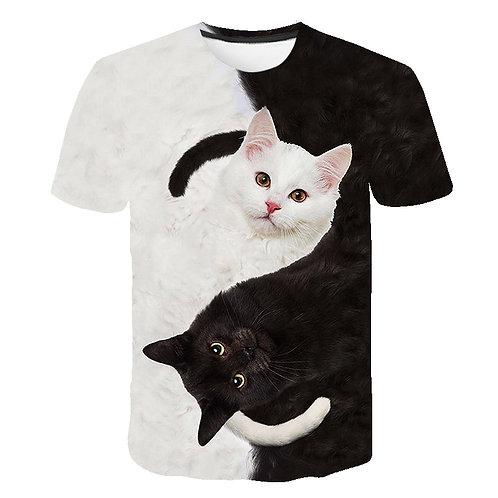 Fashion 2020 New Cool T-Shirt Boys/Girls 3d T Shirt Print Two Cat