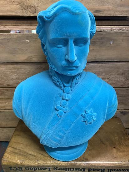 Large Blue Flock Albert Bust