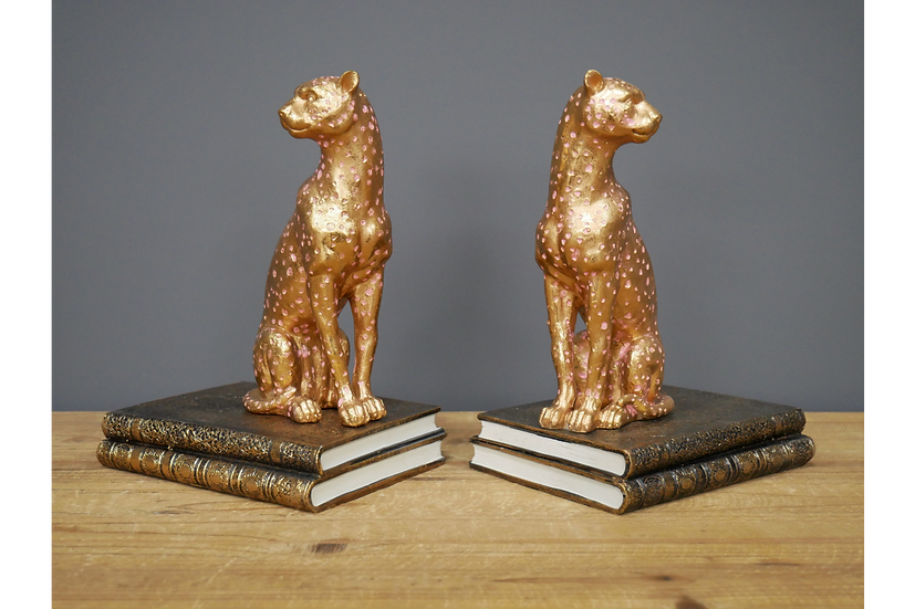 Pair of Leopard Bookends