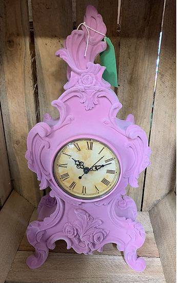 Baroque Style Flock Clock in Pink