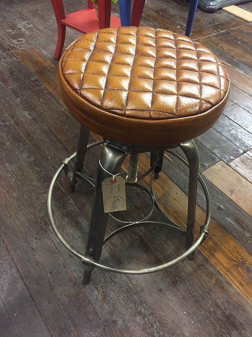 Leather Quilted Stool