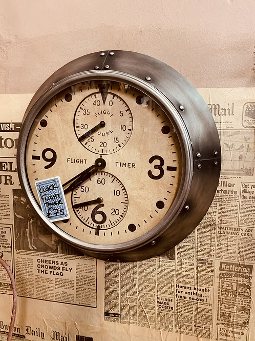 Industrial Clock with Aviation Detail