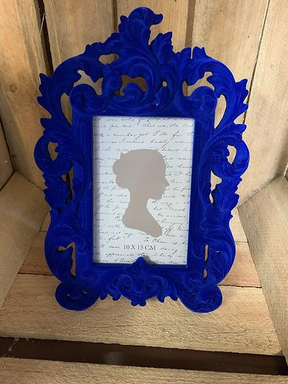 Elegant Baroque Style Blue Flock Frame