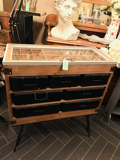 Storage Cabinet with Display Case Top