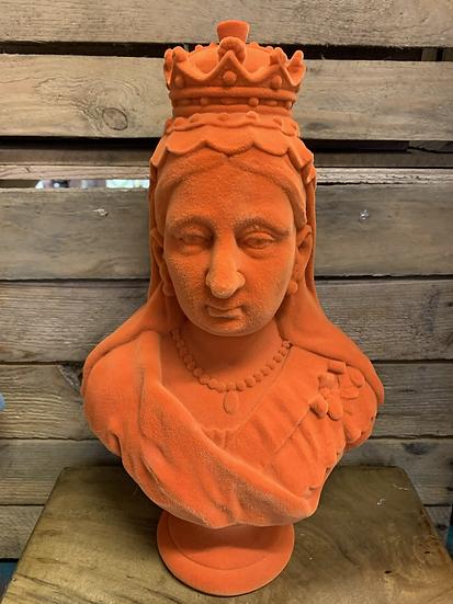 Large Orange Flock Bust of Queen Victoria