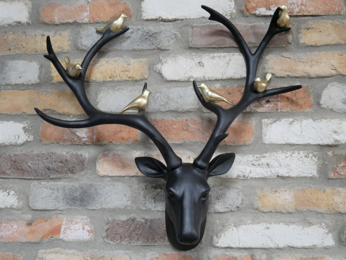 Wall Hanging Stag Head with Birds