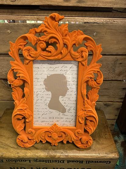 Elegant Orange Flock Baroque Style Frame