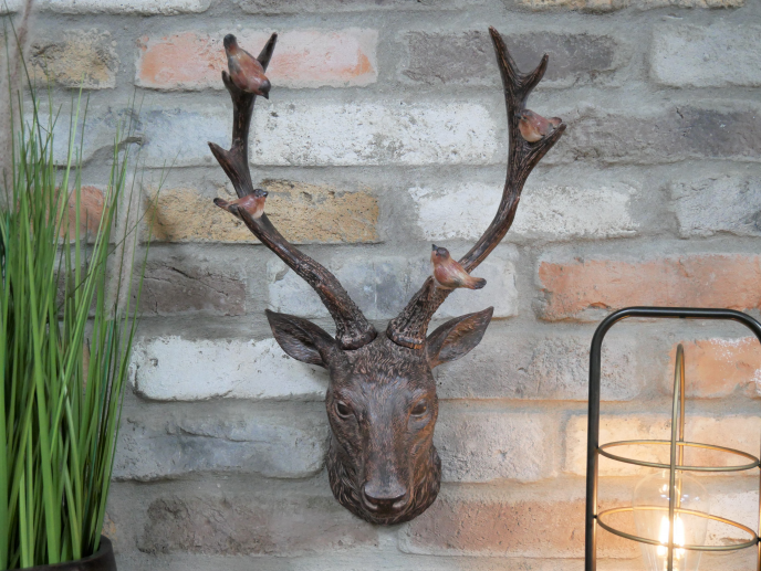 Stag Head With Cute Birds