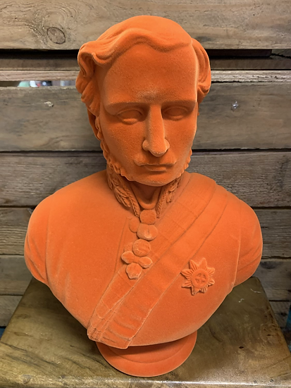 Large Orange Flock Albert Bust